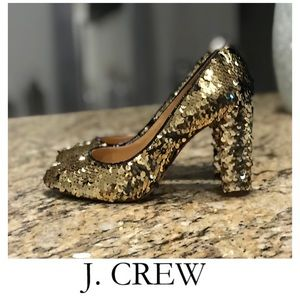 J CREW BLACK AND GOLD SEQUIN HEELS SIZE 6